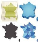 France,Map,Cartography,Paper,Vector,region,Three-dimensional Shape,Europe,Computer Icon,province,Folded,Vector Icons,Travel Locations,Ilustration,Blue,Illustrations And Vector Art