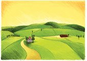 Farm,Village,Hill,Ilustration,House,Green Color,Tree,Drawing - Art Product,Field,Meadow,Nature,Agriculture,Doodle,Horizon,Outdoors,Sunlight,Incomplete,Landscapes,Nature Backgrounds,Plants,Light - Natural Phenomenon,Plant,Sky,Nature