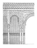 Architectural Column,Arch,Ilustration,Drawing - Art Product,Architecture,Granada,Islam,Moorish,Travel Locations,Architectural Detail,Design,Architecture And Buildings,Alhambra,Antique,Engraved Image,Decoration