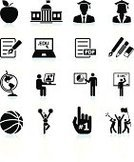 Education,Symbol,Computer Icon,School Building,Adult Student,Icon Set,Black And White