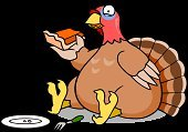 Turkey - Bird,Thanksgiving,Overweight,Pie,Cartoon,Eating,Stuffed,Humor,Plate,Clip Art,Pumpkin,Food,Fork,Holiday,Sitting,Illustrations And Vector Art,Animals And Pets,Isolated,Poultry,Bird,Holidays And Celebrations,Ilustration,Birds,Celebration,Thanksgiving,Vector,Isolated On White