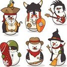 Snowman,Christmas,Pirate,Snow,Cowboy,Characters,Humor,Viking,Cartoon,Country and Western Music,Winter,Wild West,Set,Fun,Parrot,Child,Witch,Christmas Ornament,Snowboard,Sheriff,Halloween,Cute,Christmas Decoration,Animated Cartoon,Collection,Holiday,Electric Guitar,Isolated,Softness,Cold - Termperature,Disguise
