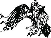 Raven,Crow,Tattoo,Wing,Bird,Spooky,Vector,Gothic Style,Claw,Flying,Wildlife,Ominous,Flapping,One Animal,Design,Conceptual Symbol,Feather,Halloween,Beak,Symbol,Nature,Black Color,White,Dark