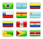 Flag,Bolivia,Argentina,Peru,Venezuela,Interface Icons,Shiny,Set,Brazil,Color Image,Star Shape,Yellow,White,Isolated,Isolated Objects,Coat Of Arms,South America,Vector,Ilustration,Suriname,Guyana,Colombia,Shadow,Illustrations And Vector Art,Paraguay,Uruguay,Vector Icons,Green Color,Blue,Red