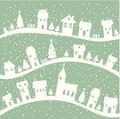 Village,Christmas,Winter,Home Interior,Snow,Backgrounds,Snowflake,Simplicity,Rural Scene,Tree,Posing,Ilustration,Vector,White,Pastel Colored,Vector Backgrounds,Sky,Illustrations And Vector Art
