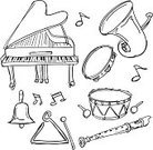 Musical Instrument,Piano,Drum,Musical Note,Doodle,Flute,Tuba,Vector,Triangle,Bell,Sketch,Symbol,Piano Key,Tambourine,Line Art,Icon Set,Saxophone,Black And White,Sound,Outline,White Background