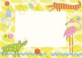 Child,Frame,Picture Frame,Tropical Rainforest,Birthday,Invitation,Backgrounds,Animal,Greeting Card,Young Animal,Cartoon,Monkey,Button,Pattern,Crocodile,Vector,Ilustration,Postcard,Bee,Design,Rhinoceros,Flamingo,Drawing - Art Product,Design Element,Ape,Part Of,Celebration,Beauty In Nature,Vector Cartoons,Beauty,Decoration,Ornate,Illustrations And Vector Art,Vector Backgrounds,Beautiful,Art,Art Product