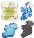Republic of Ireland,Map,Three-dimensional Shape,Northern Ireland,Cartography,Blue,Paper,Folded,region,Europe,Computer Icon,Vector,Vector Icons,Travel Locations,Ilustration,province,Illustrations And Vector Art