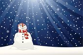 Snowman,Christmas,Snowing,Snow,Snowflake,Winter,Scarf,Blue,Carrot,Light - Natural Phenomenon,Hat,Cold - Temperature,Sunbeam,Christmas,Winter,Illustrations And Vector Art,Nature,Holidays And Celebrations
