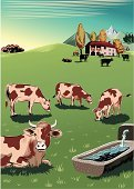 Cow,Farm,Herd,Farmhouse,Pasture,Grazing,Ranch,Animal,Mountain,Landscape,Ilustration,Hill,Animals Feeding,Vector,Mammal,Art Product,Animals And Pets,Computer Graphic,Mammals,Yellow,Herb,Brown,White,Animal Backgrounds,Scenics,Black Color,Digitally Generated Image,Farm Animals,Blue,Group Of Animals,Vertebrate,Green Color,Female Animal