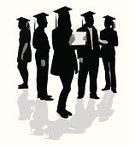 Graduation,Silhouette,Group Of People,Shadow,People,The Human Body,Computer Graphic,Digitally Generated Image,Illustrations And Vector Art,Vector Cartoons,Black Color,Focus on Shadow,Vector,Ilustration,Outline,Standing