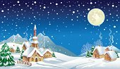 Christmas,Non-Urban Scene,Winter,Snow,Land,House,Night,Tree,Mountain,Cottage,Sky,Holiday,Star - Space,Moon,Season,Cold - Termperature,Fir Tree,Snowflake,Chimney,Winter,Holidays And Celebrations,Nature,Illustrations And Vector Art,Christmas
