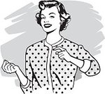 Women,Retro Revival,1950s Style,Stereotypical Housewife,Old-fashioned,Art,Pop Art,1960s Style,Smiling,Cheerful,Happiness,Black And White,Sketch,imagery,Spotted,The Human Body,Smirking,Illustrations And Vector Art,Concepts And Ideas,Communication,Mid Adult Women,Monochrome,Satisfaction