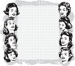 Retro Revival,Women,Old-fashioned,1950s Style,Stereotypical Housewife,Pop Art,1960s Style,Art,Marketing,Backgrounds,Commercial Sign,Poster,Frame,Banner,Sign,Smiling,Copy Space,Sketch,Black And White,Placard,Cheerful,Happiness,Smirking,Communication,Mid Adult Women,Illustrations And Vector Art,imagery,Monochrome,Satisfaction,Concepts And Ideas