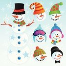 Snowman,Christmas,Hat,Beanie Hat,Snow,Snowball,Winter,Snowflake,Vector,Smiley Face,Ilustration,Cute,Santa Hat,Cheerful,Frost,Happiness,Cold - Termperature,Holiday,Ice,Smiling,Celebration,Snowing
