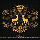 Christmas Card,Reindeer,Antler,Celebration,Winter,Gold Colored,Pattern,Vector,Season,Greeting,Design,Silhouette,Decoration,Abstract,Animal,Ilustration,Holiday,Backgrounds,Holiday Backgrounds,Illustrations And Vector Art,Holidays And Celebrations