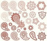Henna Tattoo,Mandala,Pattern,Paisley,Indian Culture,Persian Culture,Floral Pattern,Design Element,Elegance,Swirl,Retro Revival,1940-1980 Retro-Styled Imagery,filigree,Illustrations And Vector Art,Vector Ornaments,Vector Florals,Vector Backgrounds,Set