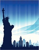 New York City,Urban Skyline,City,Statue,Statue of Liberty,Vector,Built Structure,Backgrounds,Ilustration,Symbol,Digitally Generated Image,Monument,Urban Scene,Design,Blue,Holding,Vibrant Color,Fourth of July,Brightly Lit,Freedom,Patriotism,Independence Day,Liberty,Glowing,City Life,Bright