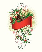 Christmas,Holly,Pine Cone,Christmas Decoration,Decoration,Christmas Ornament,Ribbon,Ornate,Circle,Curled Up,Abstract,Christmas,Illustrations And Vector Art,Red,Leaf,Holidays And Celebrations,Holiday Symbols,Grunge,Spotted,Brown,Shiny,Green Color