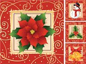 Poinsettia,Christmas,Holly,Snowman,Bell,Frame,Ribbon,Design,Bow,Hat,Gold Colored,Christmas Decoration,Grunge,Black Color,Smiling,Copper,Christmas Ornament,Bow,Shiny,Snowflake,Bright,Pattern,Seed,White,Vibrant Color,Red,Green Color