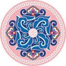 Pattern,Chinese Culture,Circle,Floral Pattern,Frame,East Asian Culture,Yellow,Red,Ilustration,Arts And Entertainment,Vector,Purple,Decoration,Illustrations And Vector Art,Vector Ornaments,Design Element,East Asia,Blue,Pink Color