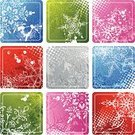 Christmas,Pink Color,Snow,Set,Interface Icons,Vector,Spray,Green Color,Silver Colored,Square Shape,Grunge,Red,Label,Ilustration,Blue,Textured Effect,Snowflake,Frost,Winter,Halftone Pattern