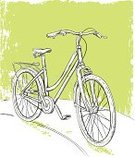 Bicycle,Sketch,Drawing - Art Product,Line Art,Ilustration,Pencil Drawing,Front View,Vector,Pen And Ink,outdoor sports,hand drawn,Sports Equipment