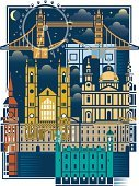 London - England,Abstract,Architecture,Night,Buckingham Palace,Famous Place,Tower of London,Millennium Wheel,Vector,Urban Scene,City,Westminster Abbey,Big Ben,Marble Arch,St. Paul's Cathedral,Tower Bridge,Capital Cities,Architecture And Buildings,Illustrations And Vector Art