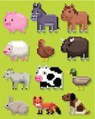 Pixelated,Pig,Horse,Duck,Cow,Farm,Dog,Sheep,Rabbit - Animal,Fox,Chicken - Bird,American Bison,Goat,Donkey,Livestock,Cattle,pixel art,Farm Animals,Vector Icons,Illustrations And Vector Art,Animals And Pets,Domestic Pig,Bull - Animal