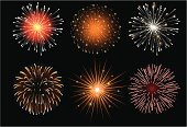 Firework Display,Pyrotechnics,Vector,Exploding,Ilustration,Orange Color,July,Sky,Night,Holiday,Celebration,New Year's Day,Event,Illuminated,Holidays And Celebrations,Set,Fourth of July,New Year's,Light - Natural Phenomenon,Red,Star Shape,Variation