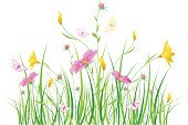 Flower,Butterfly - Insect,Springtime,Grass,Backgrounds,Yellow,Grass Family,White,Green Color,White Butterfly,Cosmos Flower,Garden Cosmos,White Background,Blade of Grass,Pink Color,Flower Head,Nature,Vector Backgrounds,Temperate Flower,Nature,Scenics,Plant,Lime Green,Illustrations And Vector Art,Wallpaper Pattern,Flowers,Vector Florals