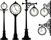 Clock,Street,Old,Wall,Time,Clock Face,Vector,Wooden Post,Metal,Black Color,Hanging