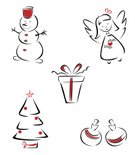Angel,Snowman,Christmas,White,Black Color,Outline,Simplicity,Box - Container,Decoration,Ilustration,Holiday,Design,Gift,Style,Illustrations And Vector Art,Christmas,Tree,Set,Holidays And Celebrations,Single Line,Holiday Symbols,Vector,Sphere,Shape,Red