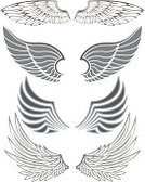 Wing,Artificial Wing,Angel,Symbol,Silhouette,Set,Feather,Vector,Drawing - Art Product,Outline,Animals And Pets,Birds,Style,Ilustration,Group of Objects,Design
