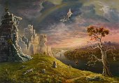 Fantasy,Dragon,Fairy Tale,Castle,Magic,Medieval,Cartoon,kingdom,Mountain,Rainbow,Paintings,Sky,Sailing Ship,Ilustration,Nature,Tree,Dreamlike,Tower,Ancient,Old Ruin,Horse,Majestic,Summer,Men,Old,Nautical Vessel,Stone Material,Europe,Fort,Blue,Dramatic Sky,Painted Image,Water,Cultures,Stone,Built Structure,Obsolete,Sunset,Horizontal,Architecture,Idyllic,History
