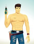 Men,Mechanic,Repairman,Manual Worker,Abdominal Muscle,Male,Male Beauty,Cartoon,Muscular Build,Repairing,Work Tool,Beautiful,Ilustration,Vector,One Person,Jeans,Belt,Hammer,Drill,Assistance,Dirty,Illustrations And Vector Art,Vertical,Mid Adult Men,Vector Cartoons,Stained