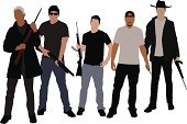 Gang Member,Mafia,Hooligan,Silhouette,Gun,Gangster,Shotgun,Cowboy Hat,Crime,T-Shirt,Weapon,Ilustration,Holding,Organization,Trench Coat,Knife,Jacket,Cruel,Vector,Toughness,White,Sunglasses,Cowboy,Coat,Organized Crime,Illustrations And Vector Art,Group Of People,Machine Gun,Standing,Hat