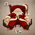 Santa Claus,Tired,Christmas,Humor,Exhaustion,Ilustration,Resting,Fun,Holiday,80 Plus Years,Unconscious,Holiday Symbols,Christmas,Holidays And Celebrations,Illustrations And Vector Art,Greeting,Senior Adult