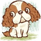 Dog,Puppy,Cavalier King Charles Spaniel,Drawing - Art Product,Characters,Animal,Sitting,Ilustration,Pampered Pets,Dogs,Animals And Pets,Canine,Pets,Hand-drawn