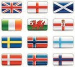 Flag,Scotland,Wales,Europe,Nordic Countries,England,Scandinavia,UK,Republic of Ireland,Sweden,Norway,Finland,Iceland,Denmark,Northern Ireland,Set,British Flag,Northern Europe,Crown,Insignia,Color Image,Blue,Red,Yellow,Orange Color,Ilustration,Collection,Vector,Cross Shape,Green Color,Illustrations And Vector Art,White,White Background,Isolated,Vector Icons,Shiny,Isolated Objects