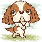 Dog,Walking,Cavalier King Charles Spaniel,Drawing - Art Product,Puppy,Ilustration,Animal,Pampered Pets,Pets,Dogs,Animals And Pets,Canine,Characters,Hand-drawn