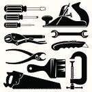 Carpenter,Work Tool,Wood Planer,Hand Saw,Silhouette,Symbol,Screwdriver,Construction Industry,Hand Tool,Clamp,Sign,Icon Set,Pliers,Repairing,Black Color,Awl,Vector,Wire Cutter,Wire Brush,Spanner,Adjustable Wrench,Knife,Illustrations And Vector Art,Objects/Equipment,slotted,Vector Icons,Construction,Industry