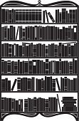 Bookshelf,Book,Library,Furniture,Silhouette,Bookstore,Vector,Black And White,Education,Ornate,Textbook,Ilustration,Wisdom,Literature,Isolated Objects,Isolated-Background Objects,Education,Illustrations And Vector Art,Industry,Research,Large Group of Objects,Collection,Messy,Encyclopaedia