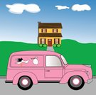 Stork,Car,Vintage Car,Baby Shower,Baby,Babies Only,House,Retro Revival,Vector,Cartoon,Old-fashioned,Architecture And Buildings,People,Illustrations And Vector Art,Scenics,Ilustration,handcarves
