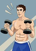 Sport,People,Curled Up,Bicep,Flexing Muscles,Ilustration,Moving Up,Posture,People,Strength,Self Improvement,Vector,Muscular Build,Illustrations And Vector Art,Vector Backgrounds,Handsome Man,Symbol,Lifestyles,Construction Industry