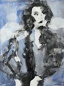 Watercolor Painting,Black Color,figure painting,White,Painted Image,Color Image,Vertical,Abstract,Blue,Photography,Pattern