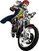 Motorcycle,Biker,Pirate,Helicopter,Riding,Gang Member,Tattoo,Cycle,Vector Cartoons,Actions,Illustrations And Vector Art,Lifestyle