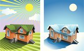 Winter,Summer,House,Residential Structure,Sky,Sun,Grass,Snow,Residential District,Built Structure,Cold - Termperature,Cloud - Sky,Modern,Weather,Building Exterior,Steps,Staircase,Ilustration,Sunlight,Season,Architecture And Buildings,Design,Rural Scene,Sunbeam,Drawing - Art Product,Bright,Porch,Frost,Vector,Architecture,Color Gradient,Light - Natural Phenomenon,Ice,Nature,Front Stoop,Illustrations And Vector Art,Style
