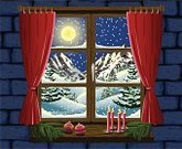 Window,Christmas,Snow,Landscape,Non-Urban Scene,Candle,Nature,Holidays And Celebrations,Winter,Moon,Christmas,Fir Tree,Christmas Decoration,Pine Tree,Mountain Range,Full Moon
