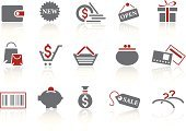 Symbol,Gift,Purse,Credit Card,Pig,Currency,Shopping,Bar Code,Icon Set,Coathanger,Coin,Red,Sale,Shopping Cart,Retail,Shopping Bag,Gray,Vector,Simplicity,Shopping Basket,Reflection